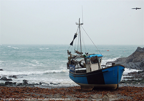 blue fishing boat Canvas print by michelle rook