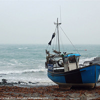 Buy canvas prints of blue fishing boat by michelle rook