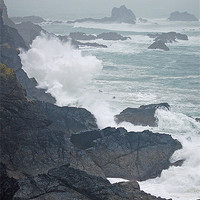 Buy canvas prints of crashing waves on cornish coast by michelle rook