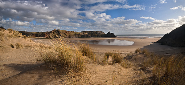 Three Cliffs Bay panorama Canvas print by Creative Photography Wales