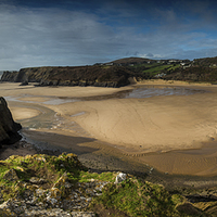 Buy canvas prints of Three Cliffs Bay panorama by Creative Photography Wales