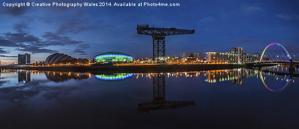 Glasgow Night Panorama Canvas print by Creative Photography Wales