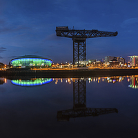 Buy canvas prints of  Glasgow Night Panorama by Creative Photography Wales