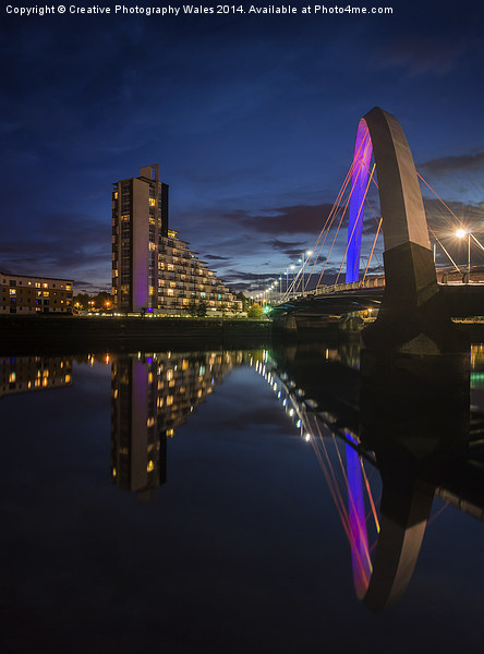 Squinty Bridge Night reflection Canvas print by Creative Photography Wales