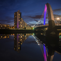 Buy canvas prints of  Squinty Bridge Night reflection by Creative Photography Wales