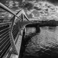 Buy canvas prints of  The Squiggly Bridge, Glasgow by Creative Photography Wales