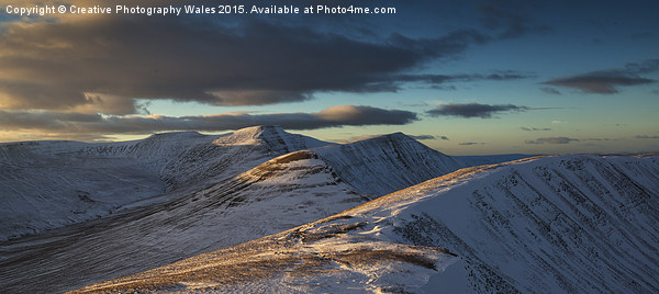 Brecon Beacons Winter Glow Canvas print by Creative Photography Wales