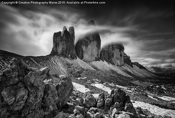 Tre Cime in the Dolomites  Canvas print by Creative Photography Wales