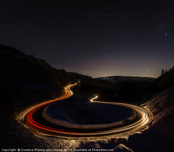 Bwlch-y-Clawdd Mountain Road at Night Canvas print by Creative Photography Wales