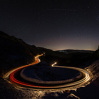 Buy canvas prints of Bwlch-y-Clawdd Mountain Road at Night by Creative Photography Wales