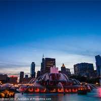 Buy canvas prints of Buckingham Fountain at Sunset by Banjiwayume Photography