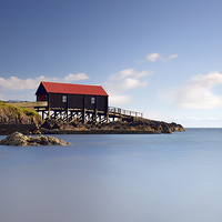 Buy canvas prints of Dunaverty Bay Boathouse by Scottish Landscape and Wildlife Canvas Print