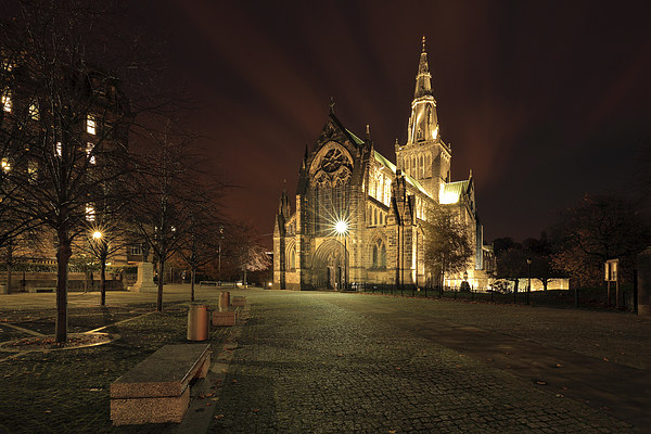 Glasgow Cathedral Night Canvas print by Scottish Lands and Wildlife C