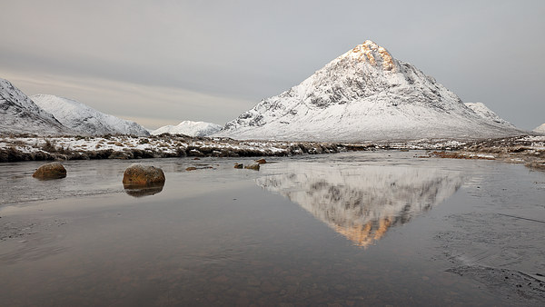 Mountain Reflection on the River Etive Canvas Print by Grant Glendinning
