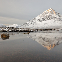Buy canvas prints of  Mountain Reflection on the River Etive by Grant Glendinning