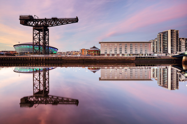 Clyde waterfront reflection at Sunset Canvas Print by Grant Glendinning