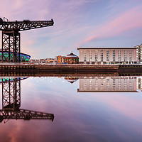 Buy canvas prints of Clyde waterfront reflection at Sunset by Grant Glendinning