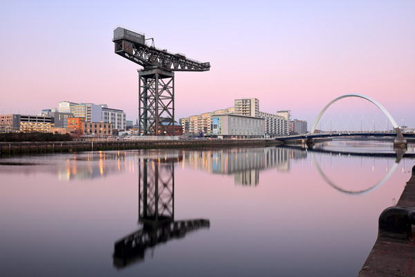 Clyde Sunset Hues Canvas Print by Grant Glendinning