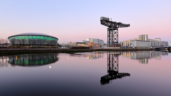 River Clyde Sunset Hues Canvas Print by Grant Glendinning