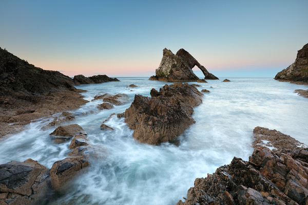 Sunset at Bow Fiddle Rock Canvas Print by Grant Glendinning