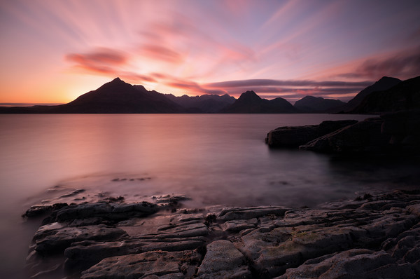 Elgol Colourful Sunset Canvas Print by Grant Glendinning