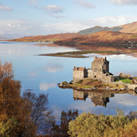 Buy canvas prints of Eilean Donan Castle Pano in Autumn by Grant Glendinning