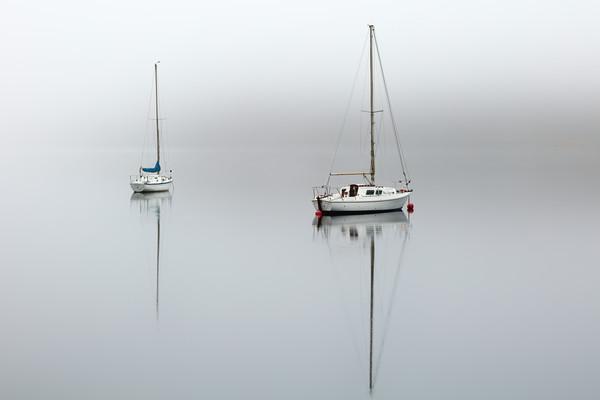 Misty boats Canvas print by Grant Glendinning