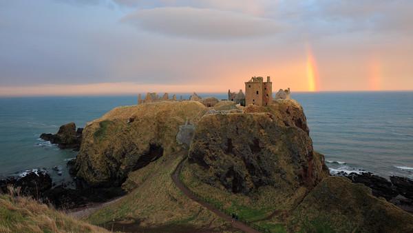 Dunnottar Castle Sunset Rainbow Canvas Print by Grant Glendinning