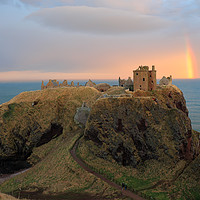 Buy canvas prints of Dunnottar Castle Sunset Rainbow by Grant Glendinning