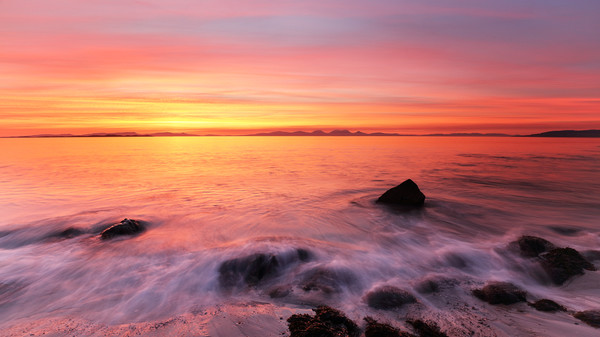 Kintyre Rocky Coast Sunset  Canvas Print by Grant Glendinning
