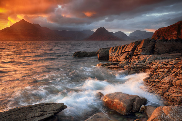 Elgol Stormy Sunset Canvas Print by Grant Glendinning