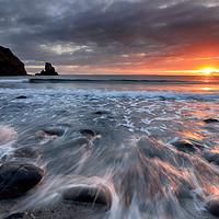 Buy canvas prints of Talisker Bay Rocky Sunset by Grant Glendinning