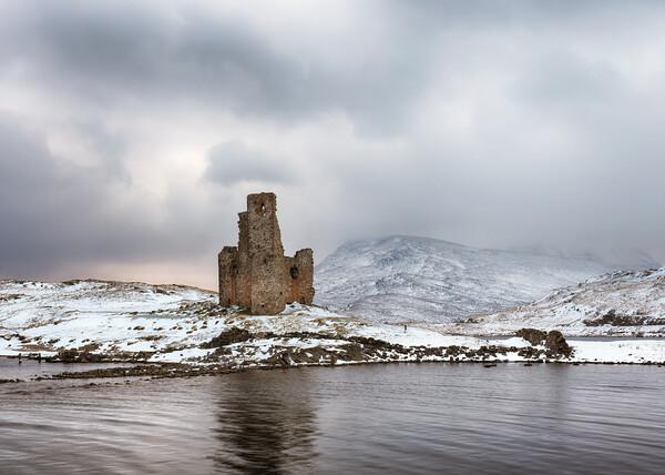 Ardvreck Castle in Winter Print by Grant Glendinning