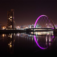 Buy canvas prints of Glasgow Clyde Arc at Night by Maria Gaellman