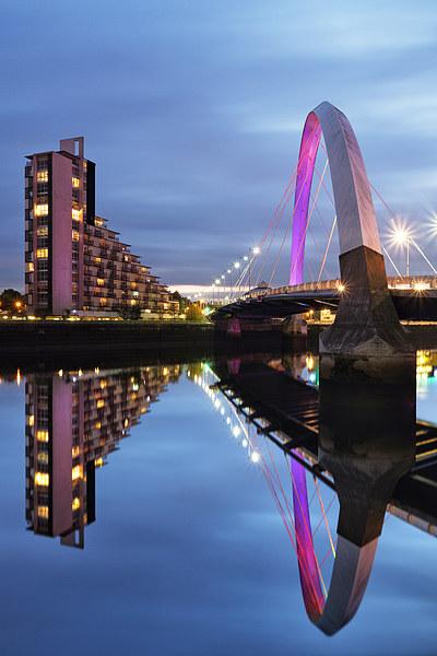 Glasgow Clyde Arc Bridge Reflections Canvas print by Fine Art by Maria Gaellman
