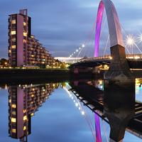 Buy canvas prints of Glasgow Clyde Arc Bridge Reflections by Fine Art by Maria Gaellman