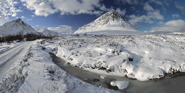 The road to Glen Etive in Winter - Panorama Canvas print by Maria Gaellman