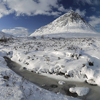Buy canvas prints of The road to Glen Etive in Winter - Panorama by Maria Gaellman