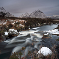 Buy canvas prints of Allt nan Giubhas and the peak of Stob Dearg by Maria Gaellman