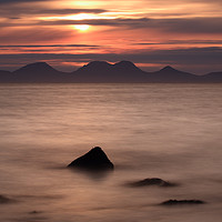 Buy canvas prints of Red Sunset over Sound of Jura by Maria Gaellman