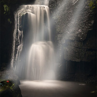 Buy canvas prints of Lumsdale Valley Waterfall - Love by Daves Photography