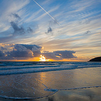 Buy canvas prints of Sunset and Surf by lee dawe