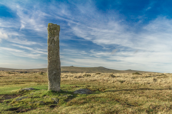 Dartmoor Standing Stone Canvas Print by lee dawe