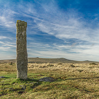 Buy canvas prints of Dartmoor Standing Stone by lee dawe