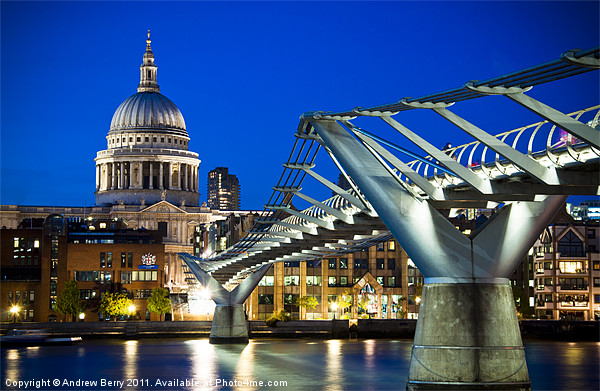 St Pauls Cathedral and the Millennium Bridge Canvas print by Andrew Berry