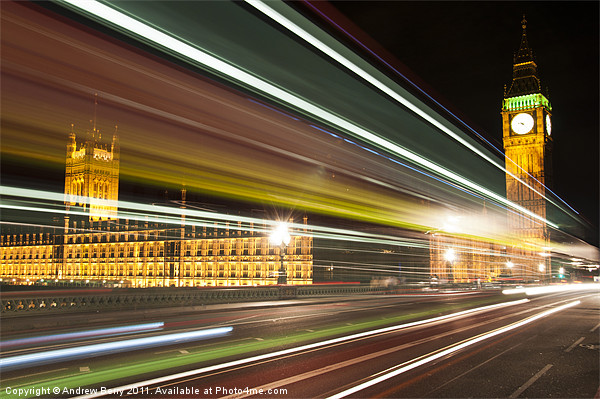 Big Ben and London Bus at Night Canvas print by Andrew Berry