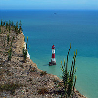 Buy canvas prints of Lighthouse at Beachy Head by angela wallace