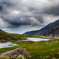 Buy canvas prints of The Lake Cwm Idwal by Angela Wallace