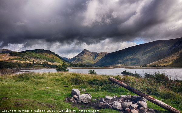 Camp fire at Loch Etive              Canvas Print by Angela Wallace