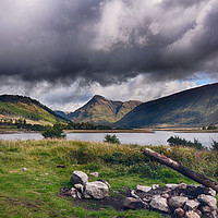 Buy canvas prints of Camp fire at Loch Etive              by Angela Wallace